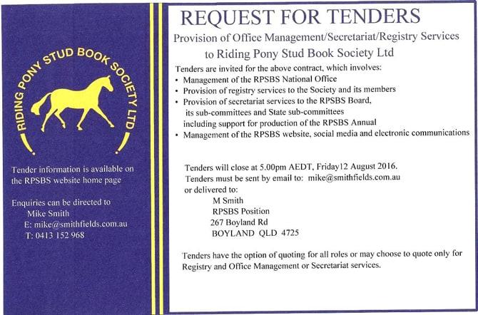 RPSBS Tender Advert